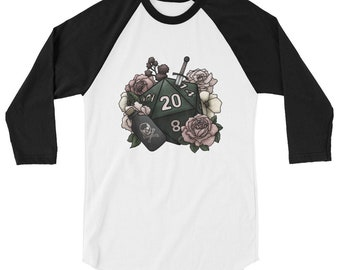 Rogue Class D20 3/4 sleeve raglan shirt - D&D Tabletop Gaming