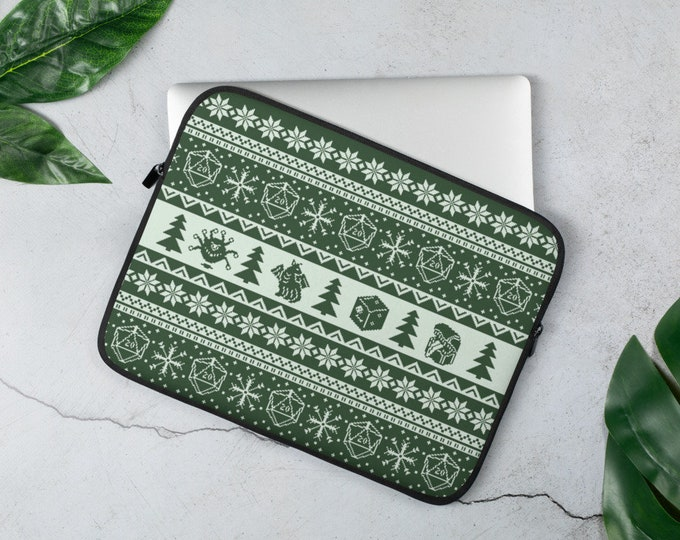 """Roll for Initiative Fair Isle D20 Laptop Sleeve in """"Evergreen"""" - D&D Tabletop Gaming"""