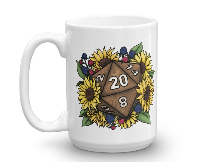 Sunflower D20 Mug - D&D Tabletop Gaming