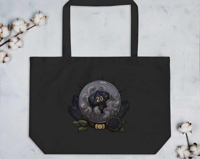 Pisces D20 Oversized Tote Bag - D&D Tabletop Gaming - Zodiac