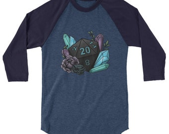 Mystic D20 - 3/4 sleeve raglan shirt - D&D Tabletop Gaming