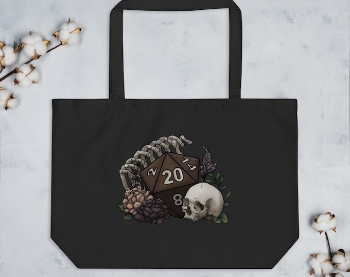 Skeleton D20 Oversized Tote Bag - D&D Tabletop Gaming