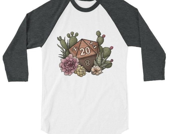 Desert D20 - 3/4 sleeve raglan shirt - D&D Tabletop Gaming