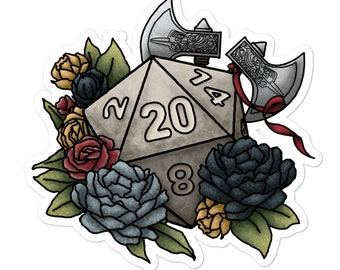 Barbarian Class D20 - Vinyl Sticker - D&D Tabletop Gaming