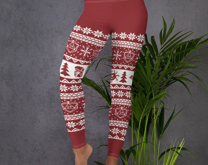 """Roll for Initiative Fair Isle Women's Leggings in """"Holly"""" - D&D Tabletop Gaming"""