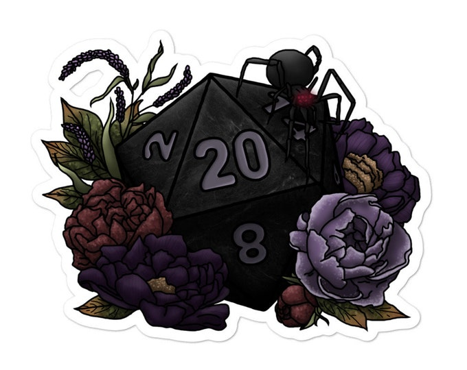 Drow D20 - Vinyl Bubble-free stickers - D&D Tabletop Gaming