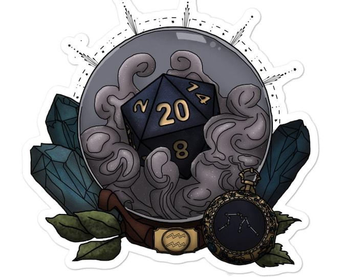 Aquarius D20 Vinyl Sticker - D&D Tabletop Gaming - Zodiac