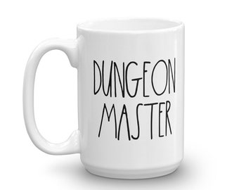 Dungeon Master - White Mug - D&D Tabletop Gaming - Rae Dunn Inspired