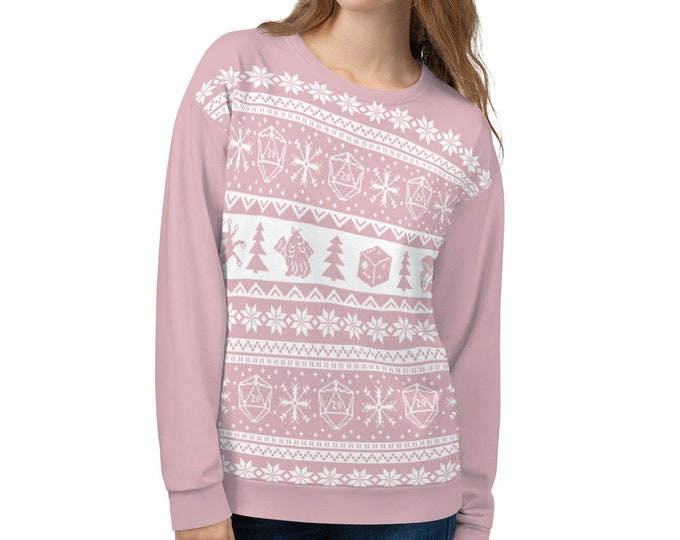 """Roll for Initiative Fair Isle Unisex Sweatshirt in """"Frosting"""" - D&D Tabletop Gaming"""