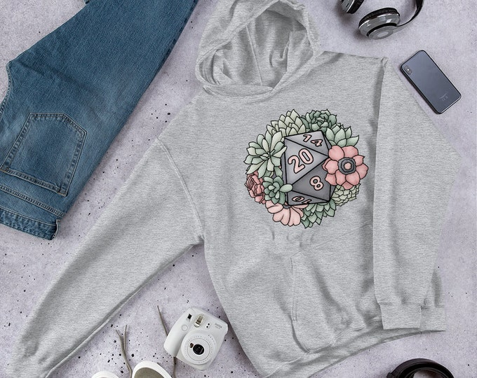 Succulent D20 Hooded Sweatshirt - D&D Tabletop Gaming