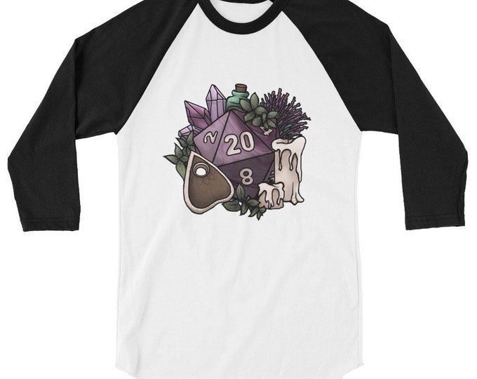 Witchy D20 3/4 sleeve raglan shirt - D&D Tabletop Gaming