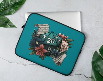 Bard Class D20 Laptop Sleeve - D&D Tabletop Gaming