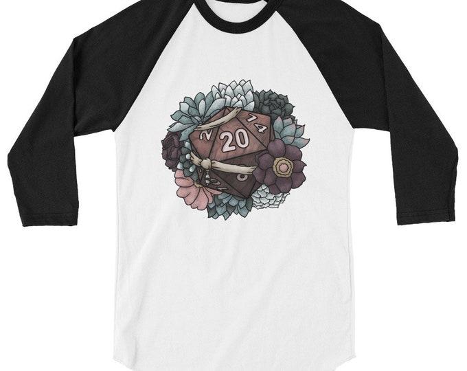 Monk Class D20 3/4 sleeve raglan shirt - D&D Tabletop Gaming