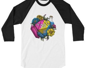 Pride Pansexual D20 3/4 sleeve raglan shirt - D&D Tabletop Gaming