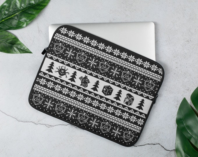 "Roll for Initiative Fair Isle D20 Laptop Sleeve in ""Coal"" - D&D Tabletop Gaming"