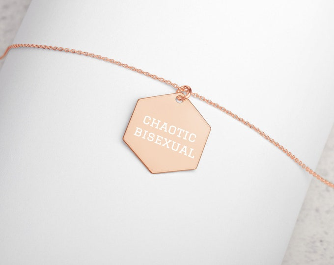 Chaotic Bisexual Minimalist Engraved Hexagon Necklace - D&D Tabletop Gaming - Jewelry