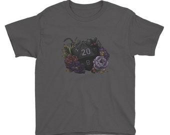 Drow D20 - Youth Short Sleeve T-Shirt - D&D Tabletop Gaming