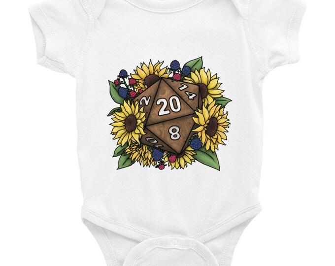 Sunflower D20 Infant Bodysuit - D&D Tabletop Gaming