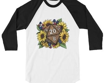 Sunflower D20 3/4 sleeve raglan shirt - D&D Tabletop Gaming