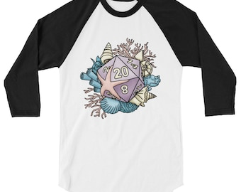 Mermaid D20 3/4 sleeve raglan shirt - D&D Tabletop Gaming