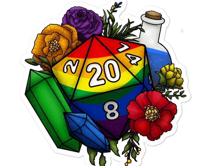 Rainbow Gay Pride D20 - Vinyl Sticker - D&D Tabletop Gaming