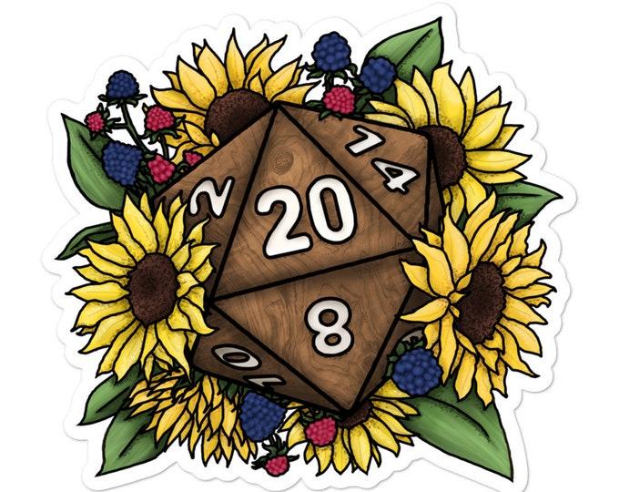 Sunflower D20 - Vinyl Sticker - D&D Tabletop Gaming