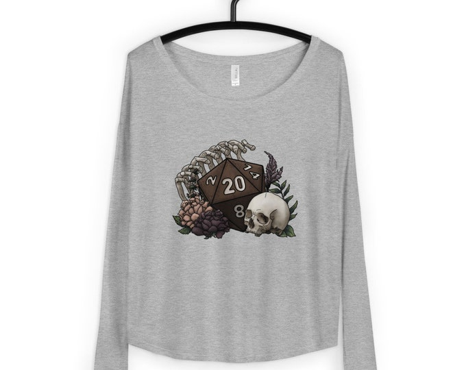 Skeleton D20 Ladies' Long Sleeve Tee - D&D Tabletop Gaming
