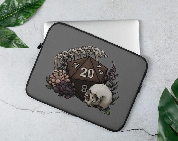 Skeleton D20 Laptop Sleeve - D&D Tabletop Gaming
