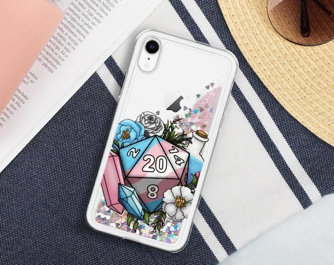 Transgender Pride D20 - Liquid Glitter iPhone Case - D&D Tabletop Gaming
