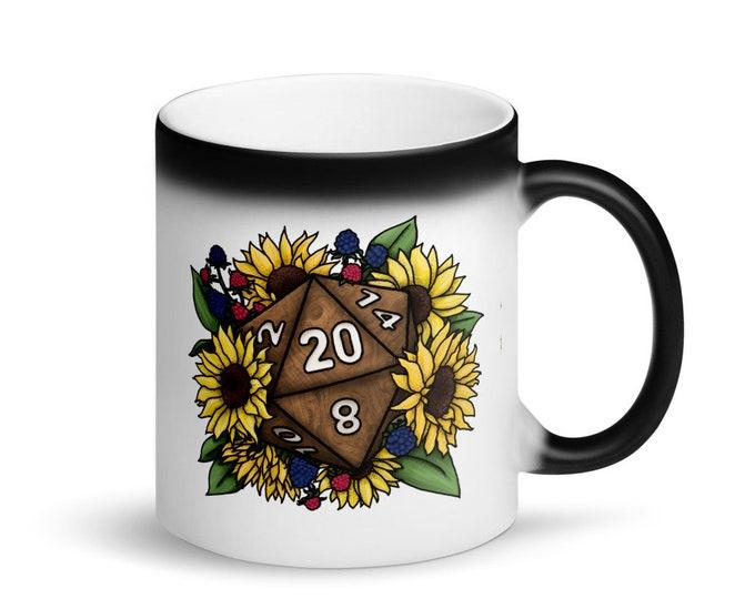 Sunflower D20 - Heat Activated Color Change Mug - D&D Tabletop Gaming
