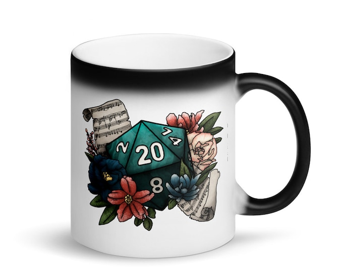 Bard D20 - Heat Activated Color Change Mug - D&D Tabletop Gaming