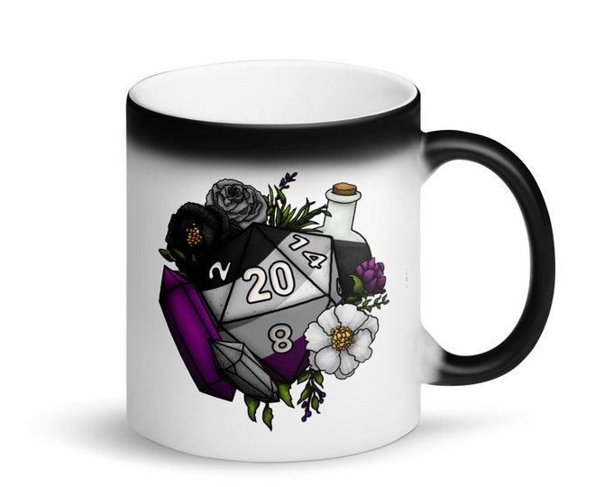 Asexual Pride D20 - Heat Activated Color Change Mug - D&D Tabletop Gaming