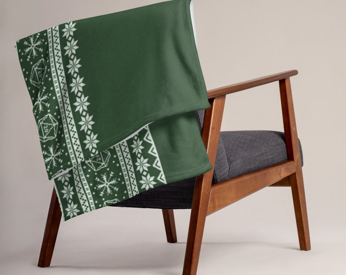 "Roll for Initiative Fair Isle Pattern Throw Blanket in ""Evergreen"" - D&D Tabletop Gaming"