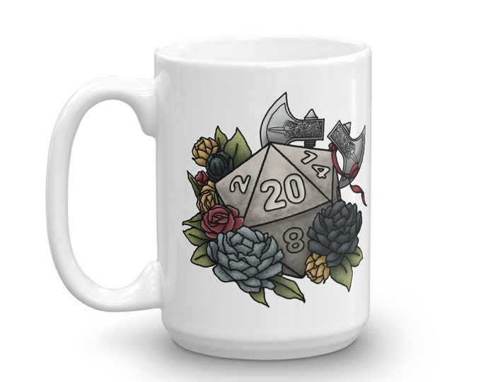 Barbarian D20 White Mug - D&D Tabletop Gaming
