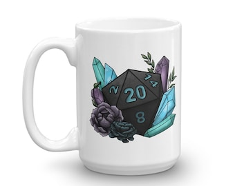 Mystic D20 - White Mug - D&D Tabletop Gaming