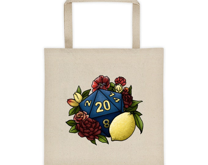 Marsala D20 Canvas Tote Bag - D&D Tabletop Gaming