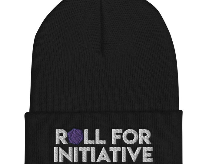 Roll for Initiative Embroidered Cuffed Beanie - D&D Tabletop Gaming