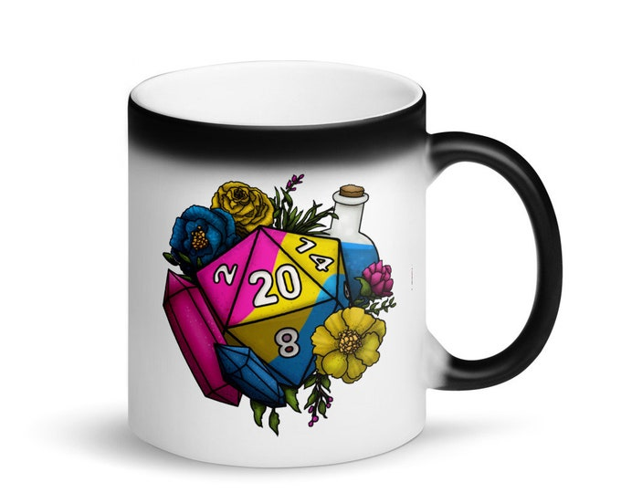 Pansexual Pride D20 - Heat Activated Color Change Mug - D&D Tabletop Gaming
