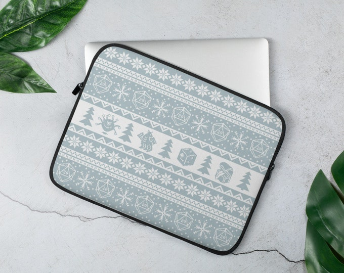 """Roll for Initiative Fair Isle D20 Laptop Sleeve in """"Snowflake"""" - D&D Tabletop Gaming"""