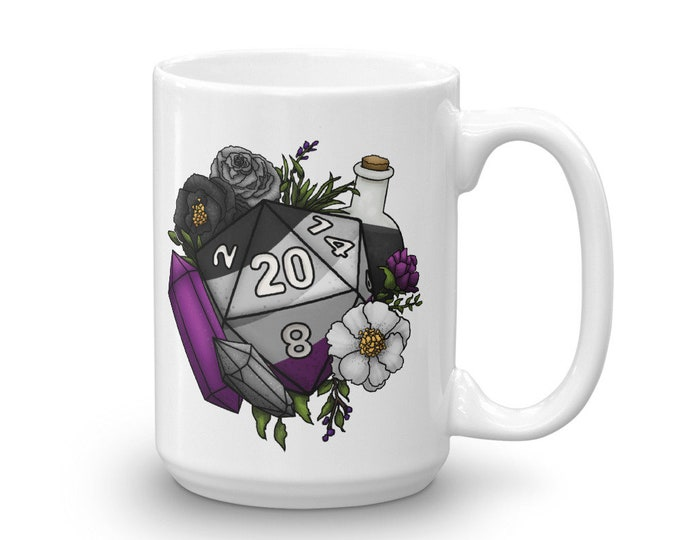 Pride Asexual D20 Mug - D&D Tabletop Gaming