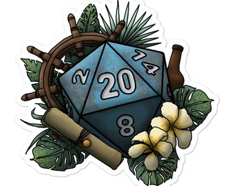 Seafaring D20 - Vinyl Sticker - D&D Tabletop Gaming