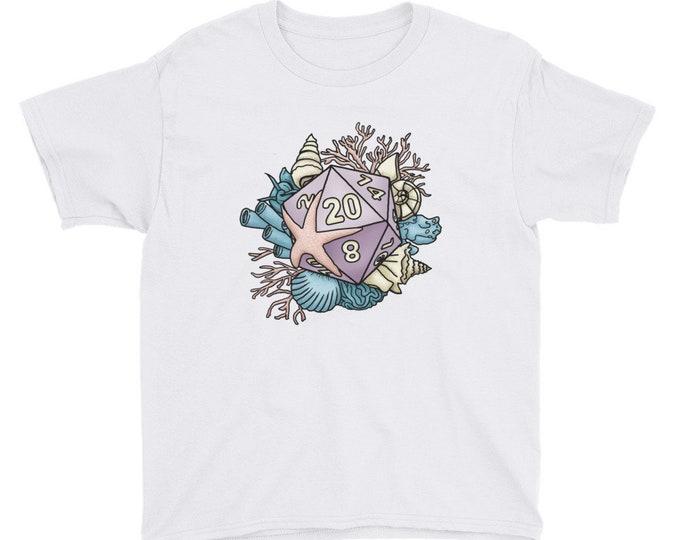 Mermaid D20 Youth Kids Short Sleeve T-Shirt - D&D Tabletop Gaming
