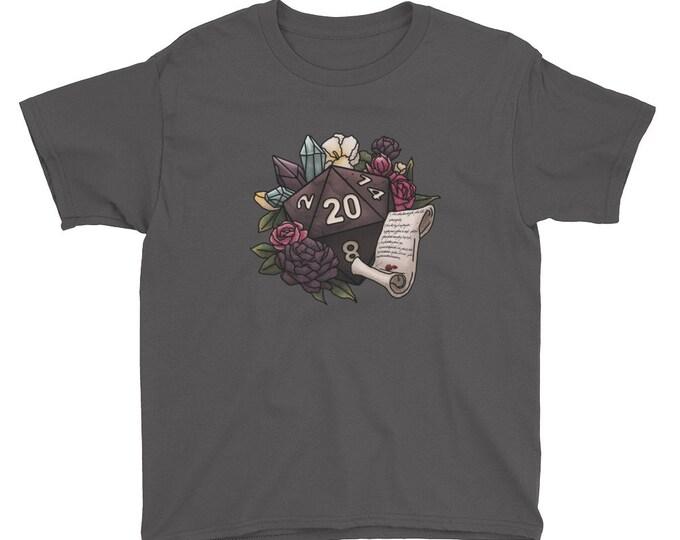 Warlock Class D20 Youth Kids Short Sleeve T-Shirt - D&D Tabletop Gaming