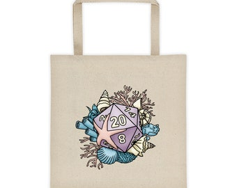 Mermaid D20 Canvas Tote Bag - D&D Tabletop Gaming