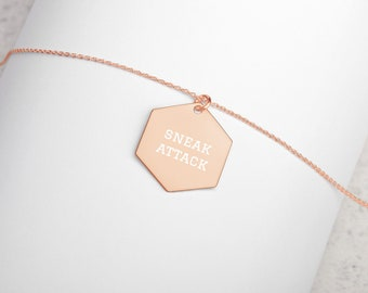 Sneak Attack Minimalist Engraved Hexagon Necklace - D&D Tabletop Gaming - Jewelry