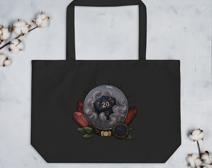 Aries D20 Oversized Tote Bag - D&D Tabletop Gaming - Zodiac