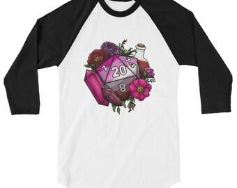 Pride Lesbian D20 3/4 sleeve raglan shirt - D&D Tabletop Gaming