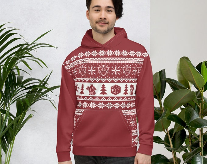 """Roll for Initiative Fair Isle Unisex Hoodie in """"Holly"""" - D&D Tabletop Gaming"""