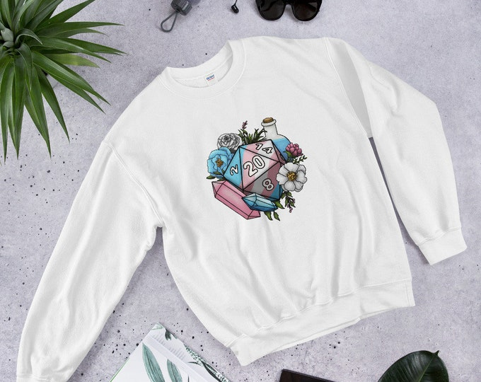 Transgender Pride D20 Unisex Sweatshirt - D&D Tabletop Gaming