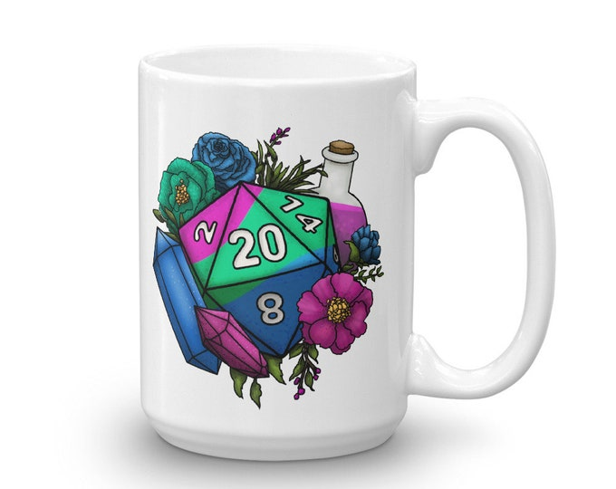 Pride Polysexual D20 Mug - D&D Tabletop Gaming